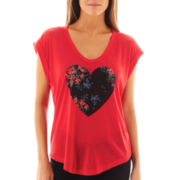 I 'Heart' Ronson® Roll-Cuff Short-Sleeve Heart Screen Tee