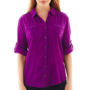 St. John's Bay® Button-Up Gauze Camp Shirt - Tall