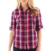 St. John's Bay® Button-Up Gauze Camp Shirt - Tall