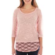 Self Esteem® Long-Sleeve Lace-Back Top