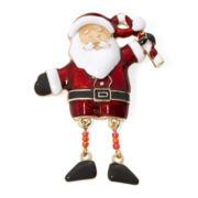 Gold-Tone Santa Movable Feet Christmas Pin