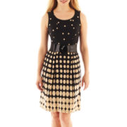 Robbie Bee® Sleeveless Belted Polka Dot Print Dress - Petite
