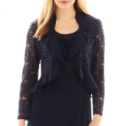 R&M Richards Lace Dress with Ruffle Jacket - Petite