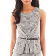 Liz Claiborne® Sleeveless Houndstooth Plaid Belted Peplum Top - Tall