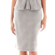 Liz Claiborne Houndstooth Plaid Pencil Skirt - Tall