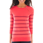 Liz Claiborne 3/4-Sleeve Zip-Neck Sweater - Tall