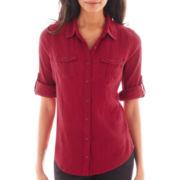 St. John's Bay® 3/4-Sleeve Gauze Campshirt - Tall