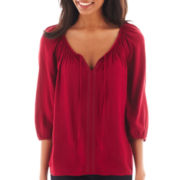 St. John's Bay® Beaded Tie-Neck Peasant Top - Tall