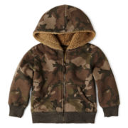 Arizona Zip-Front Camo Fleece Sherpa Hoodie – Boys 2t-6