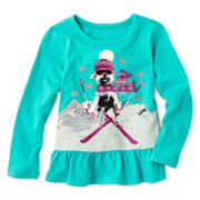 Arizona Long-Sleeve Knit Peplum Top – Girls 2t-6