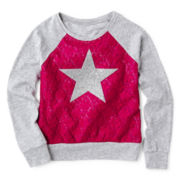 Arizona Long-Sleeve Mix Raglan Lace Knit Top – Girls 2t-6