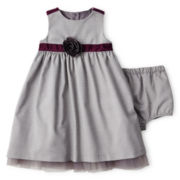 Wendy Bellissimo™ Sleeveless Faux Wool Houndstooth Dress – Girls 6m-24m