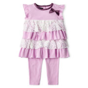 Wendy Bellissimo™ 2-pc. Lace Ruffle Tunic and Pants Set – Girls 6m-24m