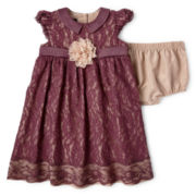 Wendy Bellissimo™ Sleeveless Faux Silk Lace Dress – Girls newborn-24m