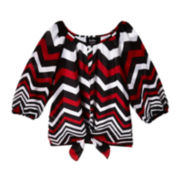 by&by Girl Chevron Print Woven Top - Girls 7-16