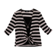 by&by Girl Striped Tie-Front Cardigan, Top and Necklace Set - Girls 7-16
