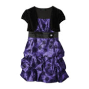 by&by Girl 2-pc. Cap-Sleeve Velvet Shrug and Taffeta Dress – Girls Plus