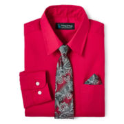 Steve Harvey® Long-Sleeve Fashion Shirt and Clip-On Tie Set – Boys 8-18