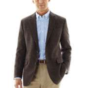 Stafford® Signature Brown Houndstooth Merino Wool Sport Coat