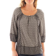 St. John's Bay® 3/4-Sleeve Twin Print Peasant Top - Tall