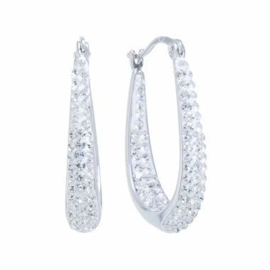 jcpenney.com | Sparkle Allure Crystal Silver Over Brass Hoop Earrings