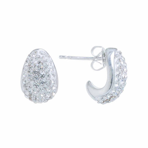 Sparkle Allure Round Crystal Silver Over Brass Stud Earrings