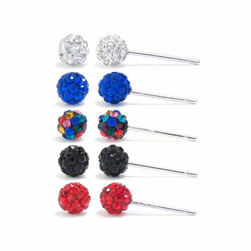 Sparkle Allure Silver Over Brass Earring Sets