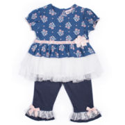 Little Lass® 2-pc. Chambray Top and Pants Set