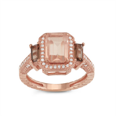 jcpenney.com | Simulated Morganite Quartz And 1/4  C.T. T.W. Diamond 10K Rose Gold Ring