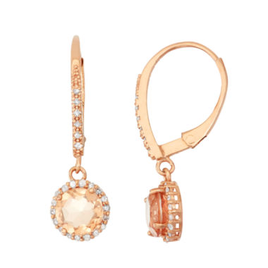 jcpenney.com | Simulated Morganite Quartz And 1/4  C.T. T.W. Diamond 10K Rose Gold Earrings