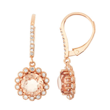 jcpenney.com | Simulated Morganite Quartz And 1/3  C.T. T.W. Diamond 10K Rose Gold Earrings
