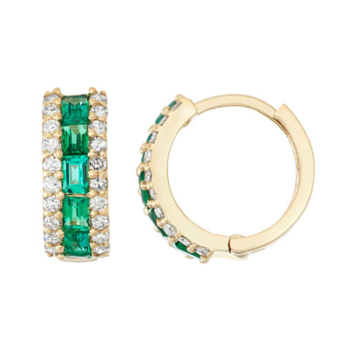 Lab Created Emerald And 1/2C.T. T.W. Diamond 10K Yellow Gold Earrings