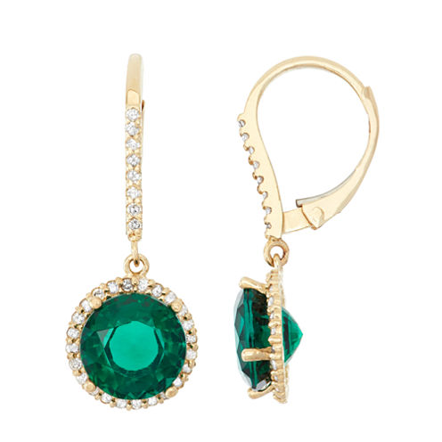 Lab Created Emerald And 1/3C.T. T.W.Diamond 10K Yellow Gold Earrings