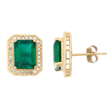 jcpenney.com | Lab Created Emerald And 1/4 C.T. T.W.  Diamond 10K Yellow Gold Earrings