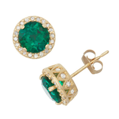 jcpenney.com | Lab Created Emerald And 1/3 C.T. T.W. Diamond 10K Yellow Gold Earrings
