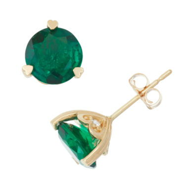 jcpenney.com | Lab Created Emerald And Diamond Accent 10K Yellow Gold Earrings