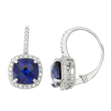 jcpenney.com | Lab Created Sapphire And 1/4 C.T. T.W.  Diamond 10K White Gold Earrings