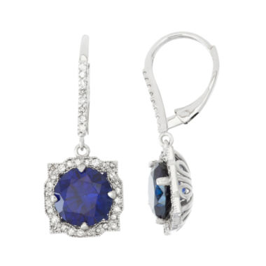 jcpenney.com | Lab Created Sapphire And 1/3 C.T. T.W. Diamond 10K White Gold Earrings