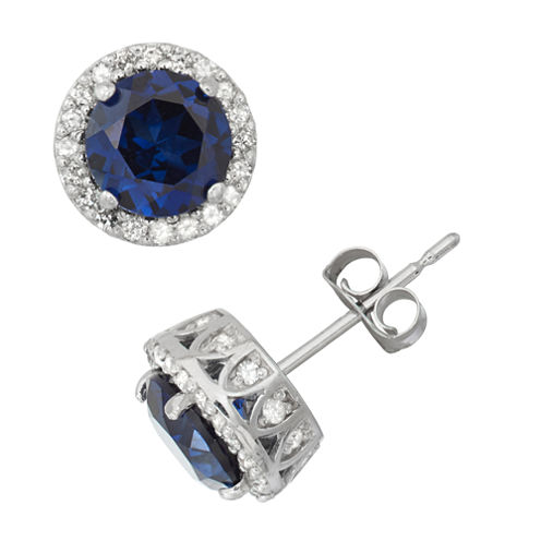 Lab Created Sapphire And 1/3 C.T. T.W. Diamond 10K White Gold Earrings