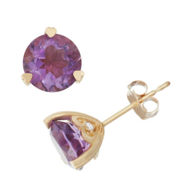 jcpenney.com | Genuine Amethyst And Diamond Accent 10K Yellow Gold Earrings