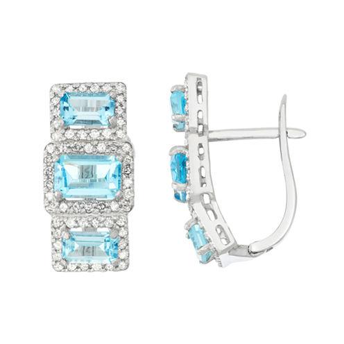 Genuine Swiss Blue Topaz And 5/8 C.T. T.W.Diamond 10K White Gold Earrings