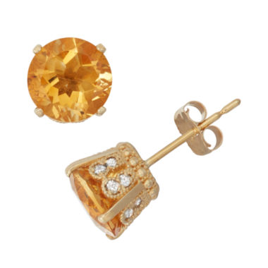 jcpenney.com | Genuine Citrine And 1/6 C.T. T.W.  Diamond 10K Yellow Gold Earrings