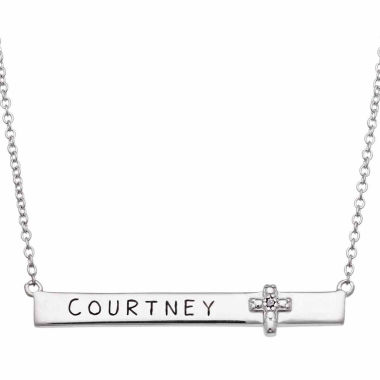 jcpenney.com | Personalized Sterling Silver with Diamond Accent Cross Name Necklace