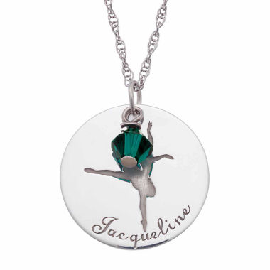 jcpenney.com | Personalized Sterling Silver Crystal Birthstone Dancer Name Pendant Necklace