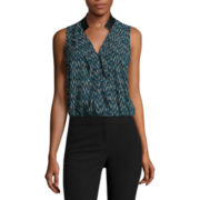 Worthington® Sleeveless Ruffled Contrast Blouse