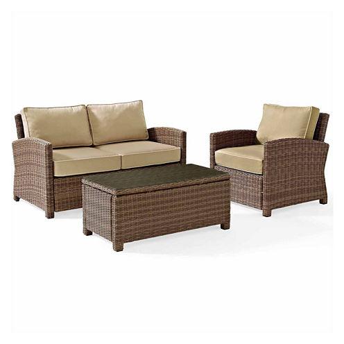 Crosley Bradenton Wicker 3-pc. Patio Lounge Set