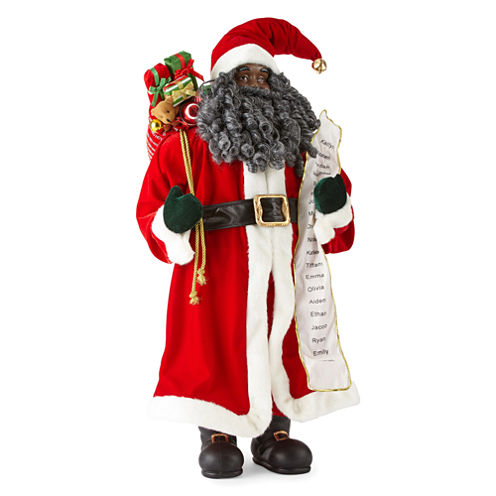"""North Pole Trading Co. Christmas Cheer 36"""" Traditional Santa With Toys & List"""