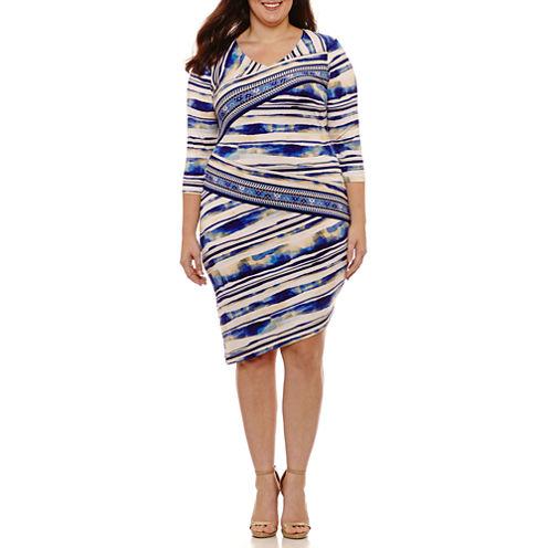 Weslee Rose 3/4 Sleeve Stripe Sheath Dress-Plus