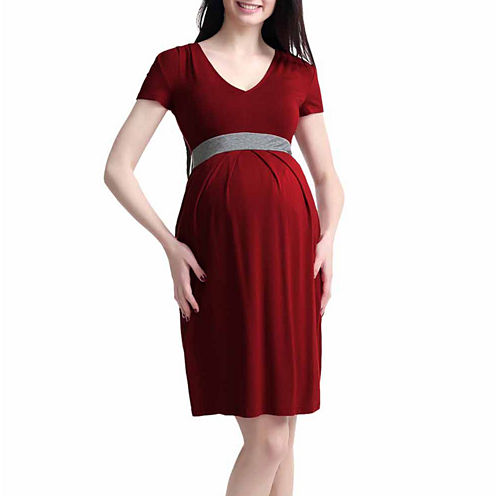 Glow & Grow Maternity Contrast Pleated Dress