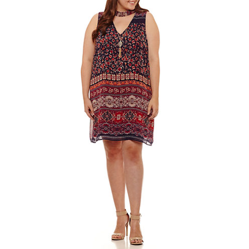 by&by Sleeveless A-Line Dress-Juniors Plus